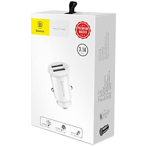 Baseus Grain Car Charger (Dual USB 5V 3.1A) White