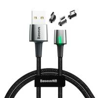 Baseus Zinc Magnetic Cable Kit (iP+Type-C+Micro) 2m Black